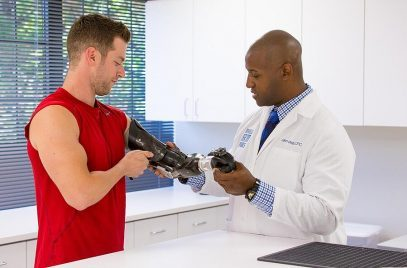 Patient on Prosthetics being checked by a professional doctor